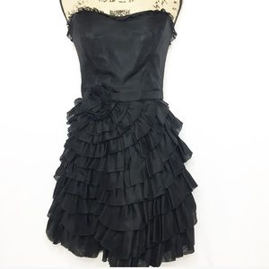 Betsey Johnson Black Tiered Ruffle Cocktail Dress